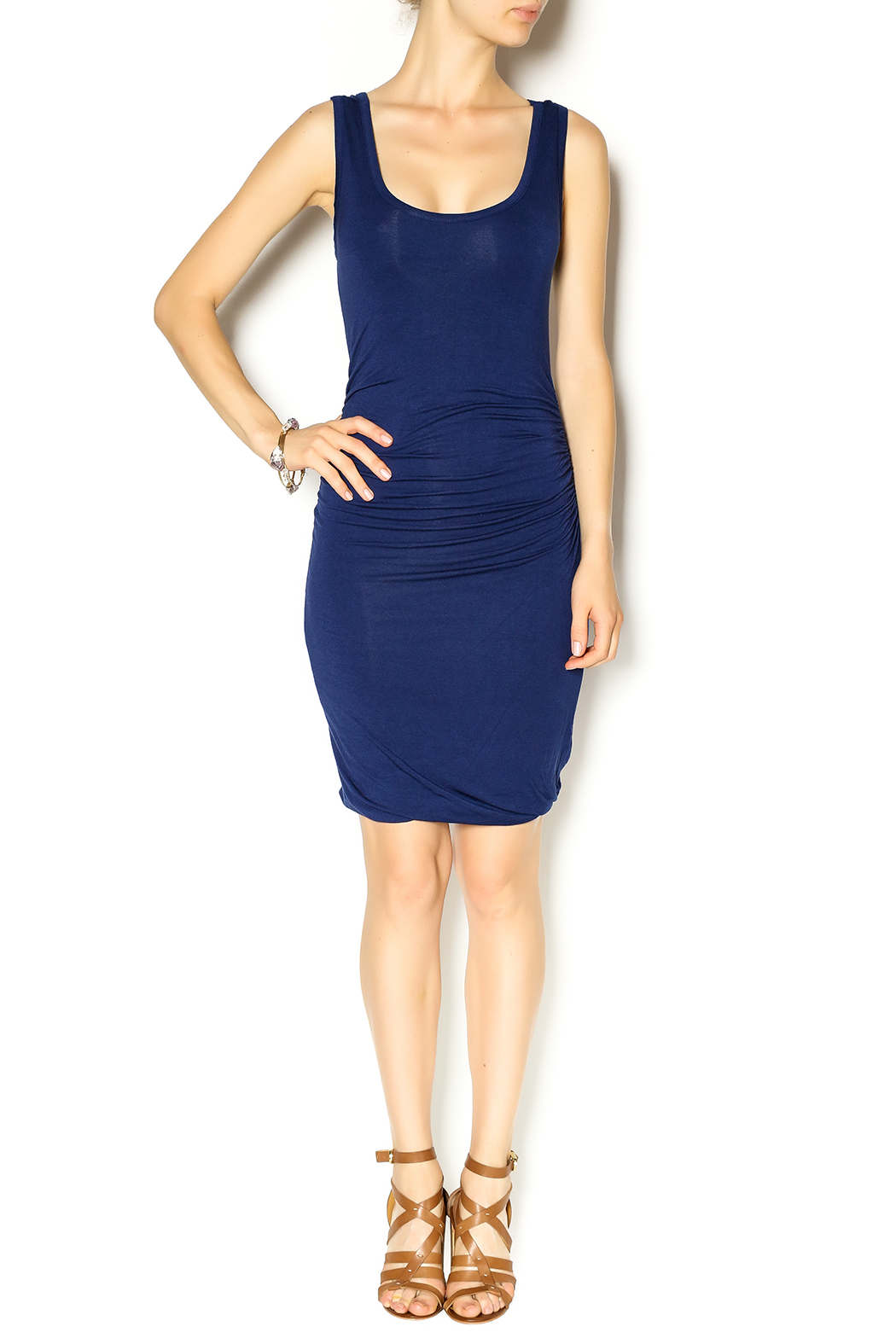 Glam Navy Jersey Dress - Front Full Image