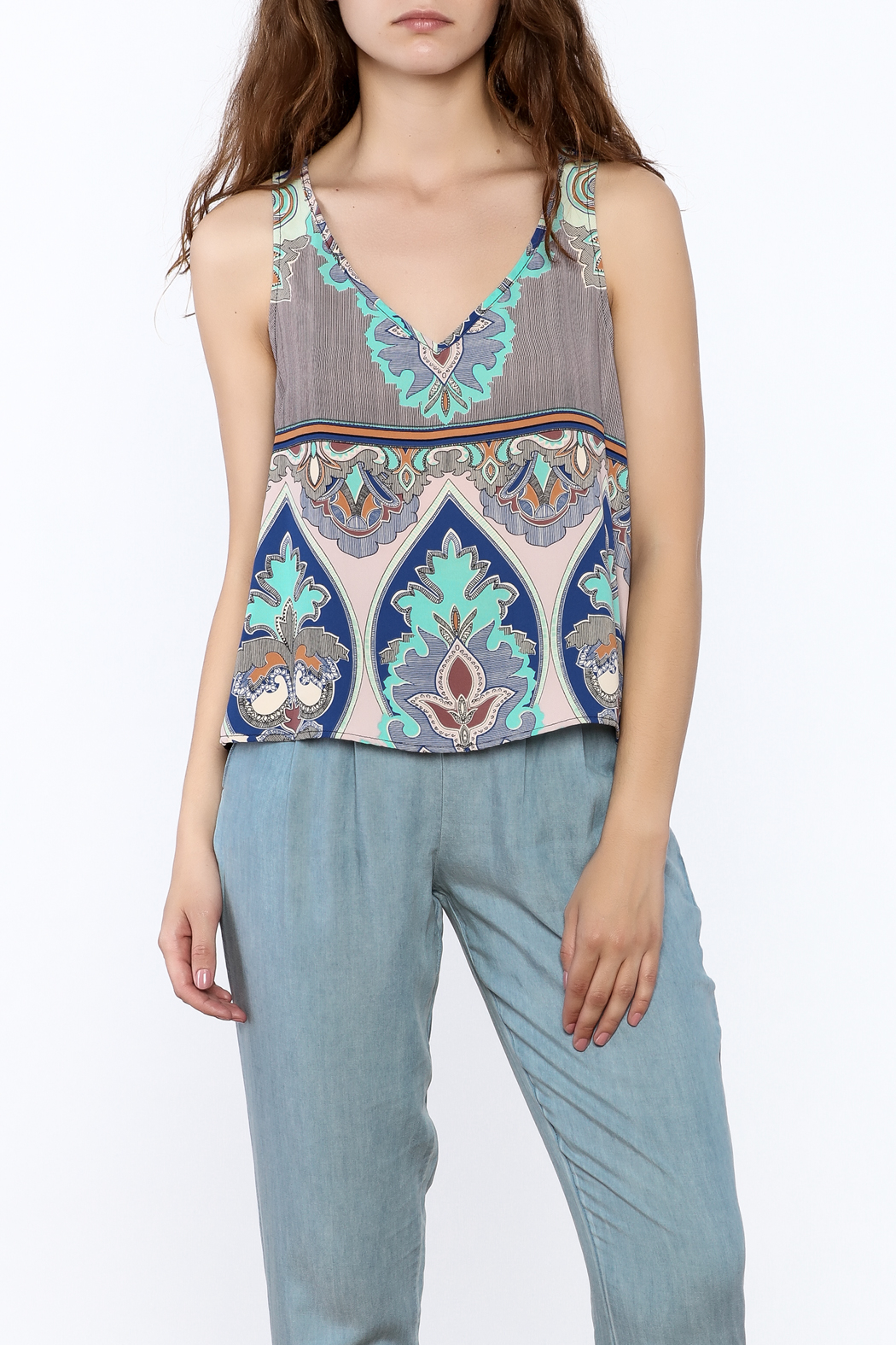 Glam Paisley Panel Tank - Front Cropped Image