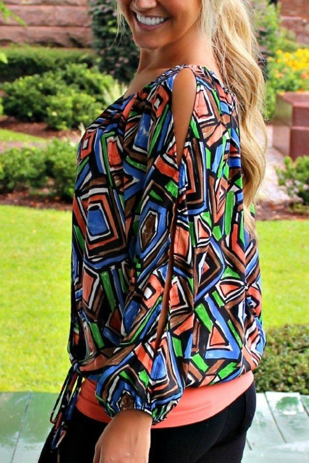 Glam Patterned Gypsy Blouse - Main Image