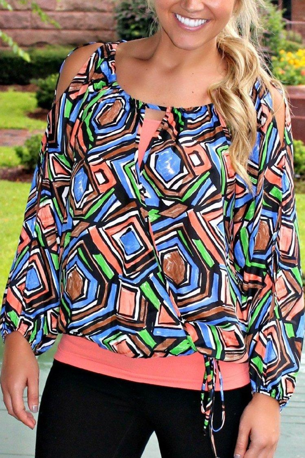 Glam Patterned Gypsy Blouse - Side Cropped Image