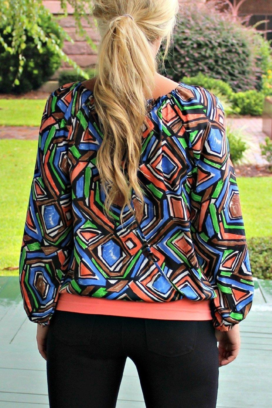 Glam Patterned Gypsy Blouse - Front Full Image