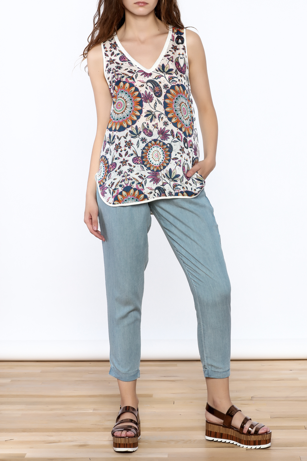 Glam Silk Floral Tank - Front Full Image