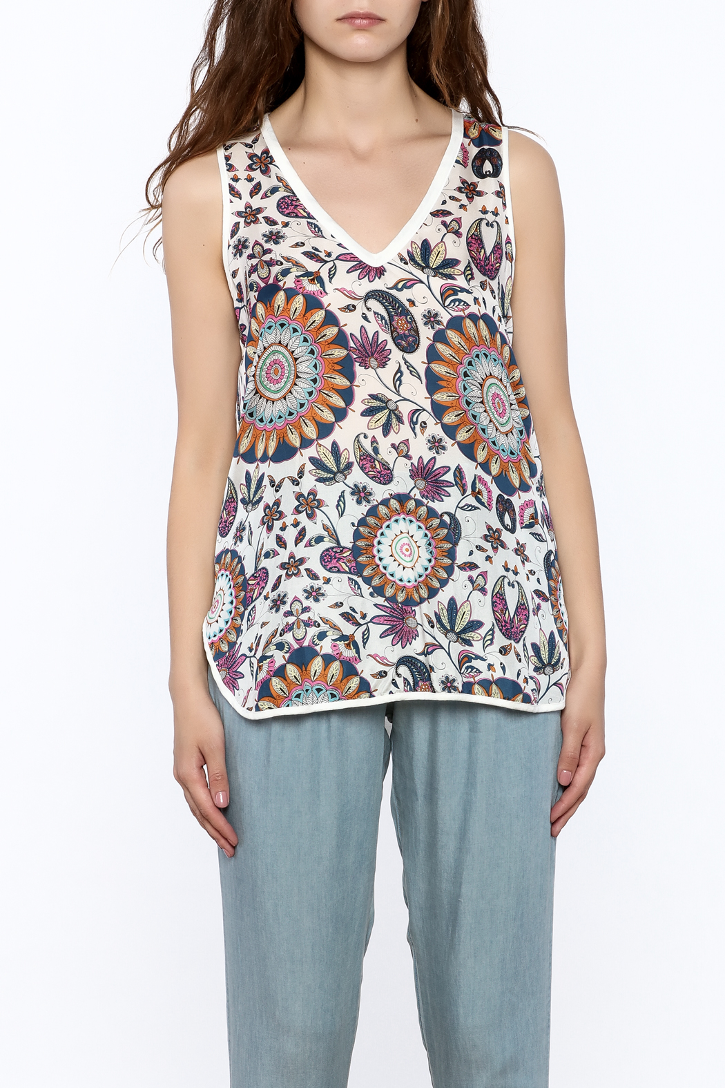 Glam Silk Floral Tank - Side Cropped Image