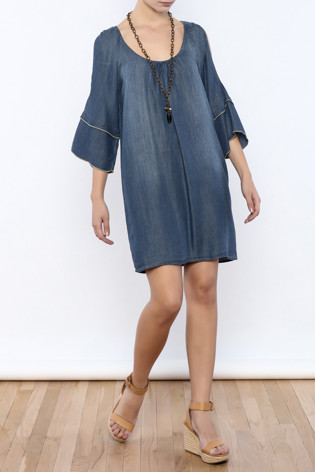 Glam Split Sleeve Denim - Front Full Image