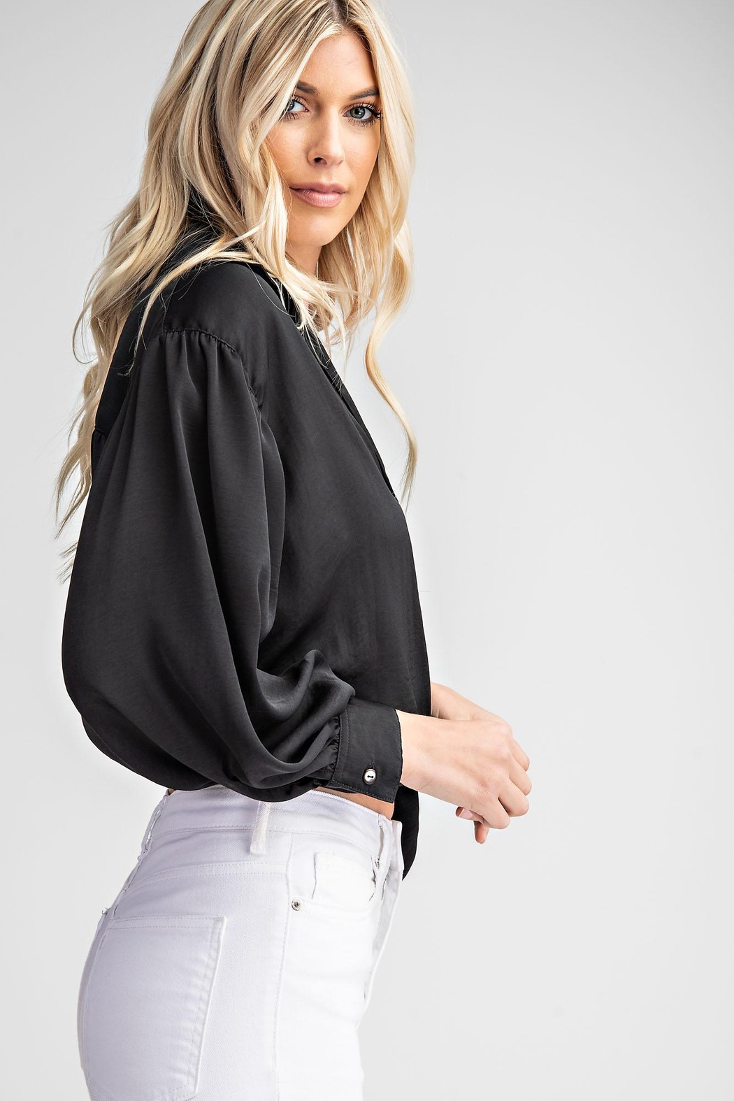 Glam Tie Front Collared Shirt - Front Full Image