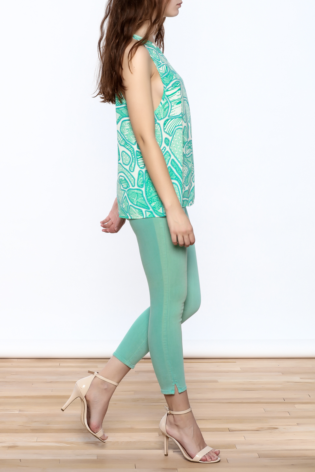 Glam Turquoise A-Line Top - Front Full Image