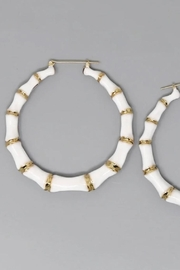 Glam Expressway White Bamboo Hoop Earrings - Front cropped