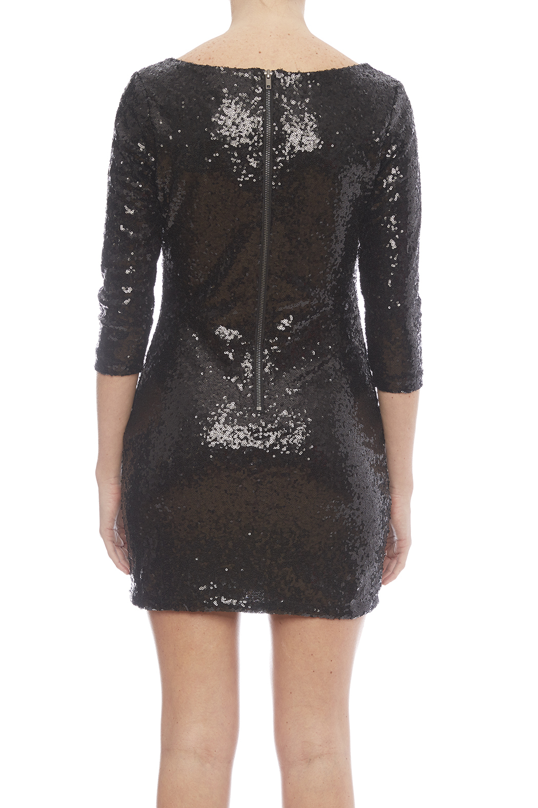 Glamorous Black Sequin Dress - Back Cropped Image