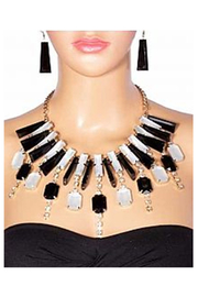 KIMBALS Glamorous Black & White Stone Necklace Set - Product Mini Image