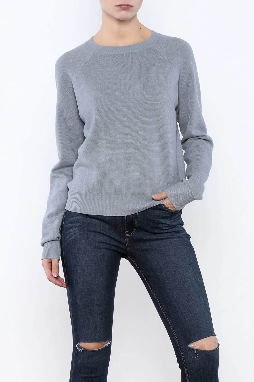 Glamorous Dusty Blue Knit Sweater from New York City by Jupe ...