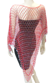 Kristen's Glamorous Long Beaded Poncho-Red/Silver - Product Mini Image