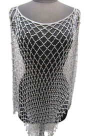 Kristen's Glamorous Long Beaded Poncho-White/Silver - Product Mini Image
