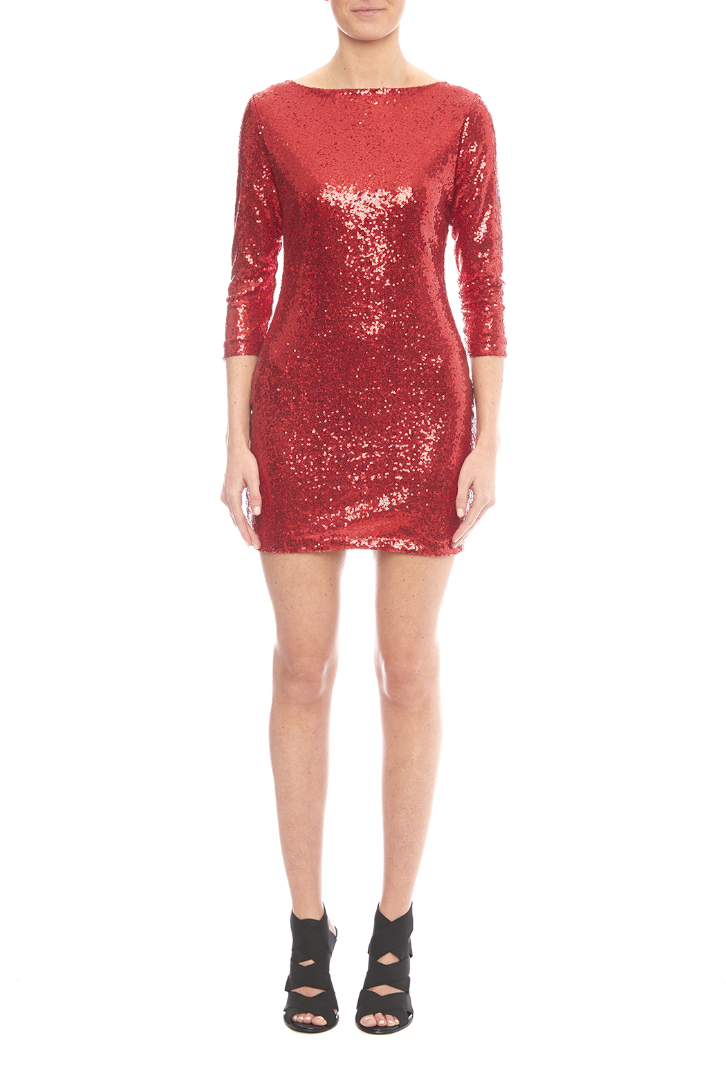 Glamorous Red Sequin Dress - Side Cropped Image