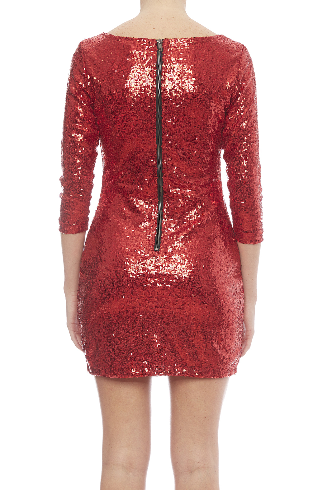 Glamorous Red Sequin Dress - Back Cropped Image