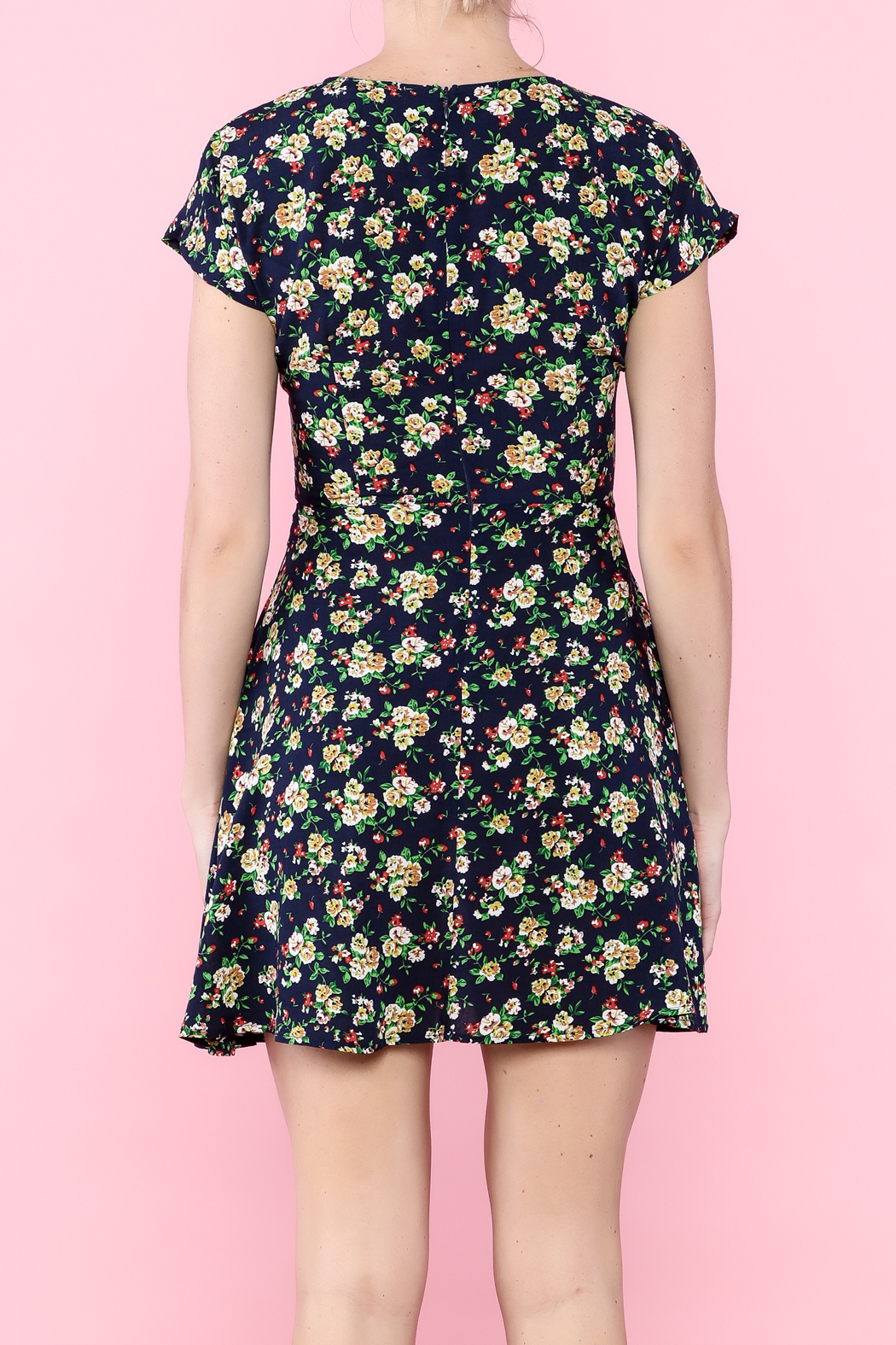 Glamourous Navy Floral Print Dress - Back Cropped Image
