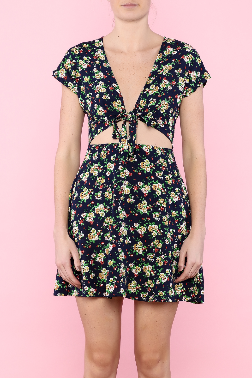Glamourous Navy Floral Print Dress - Side Cropped Image