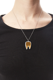 Glass Action Gold Tooth Necklace - Back cropped