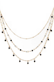 US Jewelry House Glass Bead Drop Charm Short Layered Necklace - Product Mini Image
