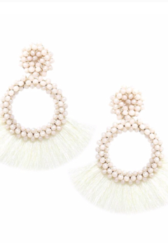 US Jewelry House Glass Bead Wrapped Hoop With Tassel Fringe Drop Earrings - Alternate List Image