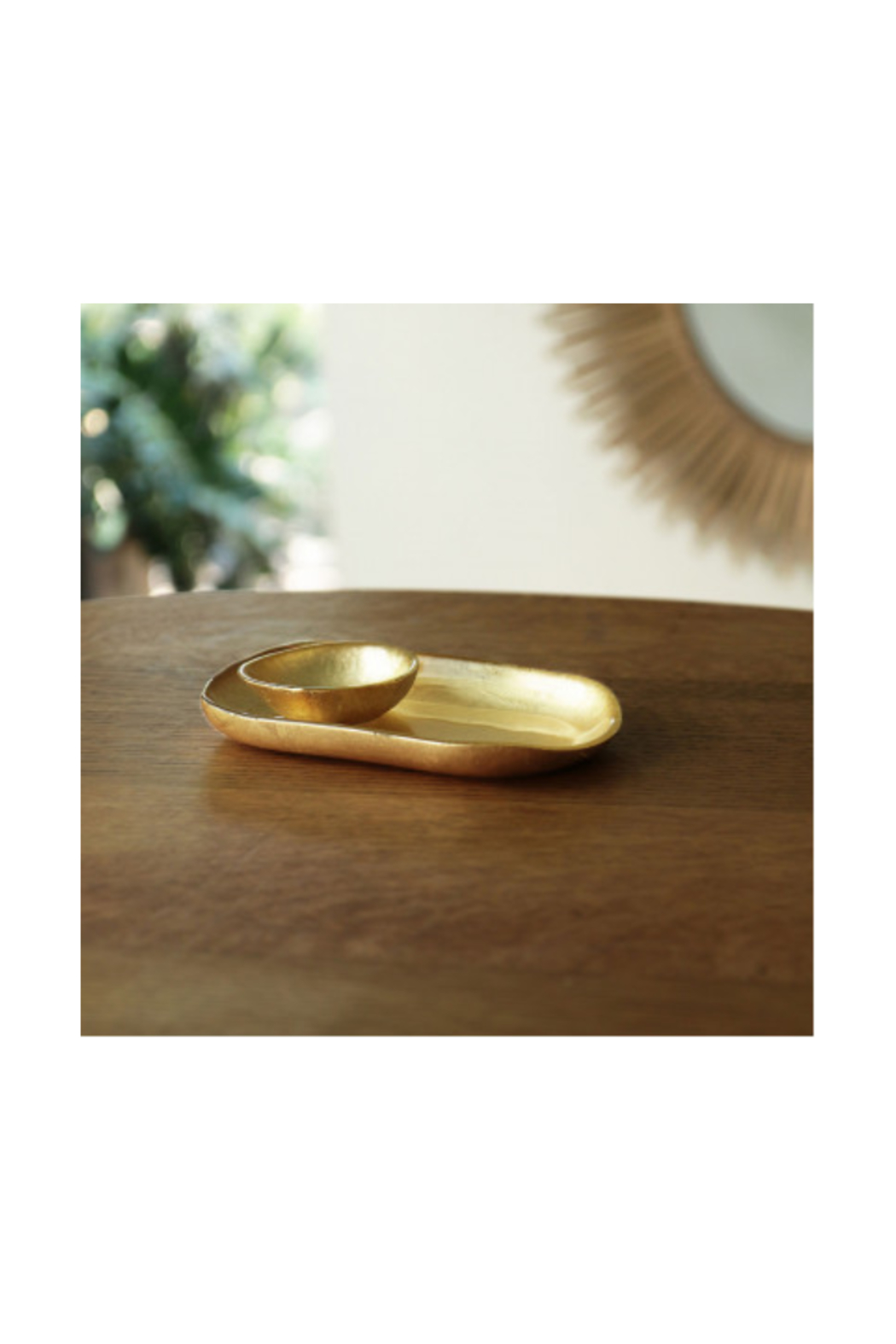 The Birds Nest GLASS OVAL PLATTER WITH MINI BOWL-GOLD FOIL - Main Image