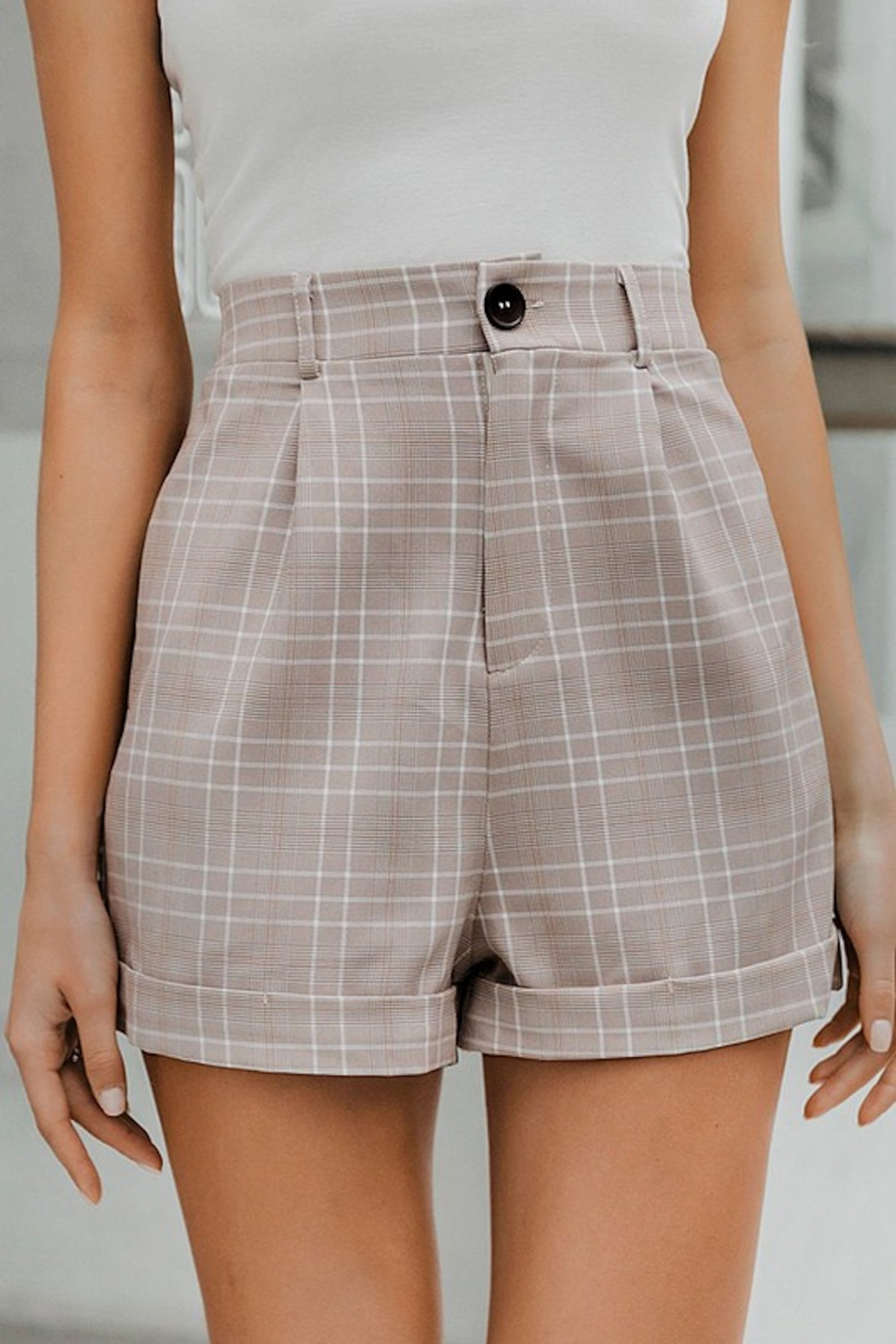 May Blue  Glen Plaid Buttoned Shorts - Main Image