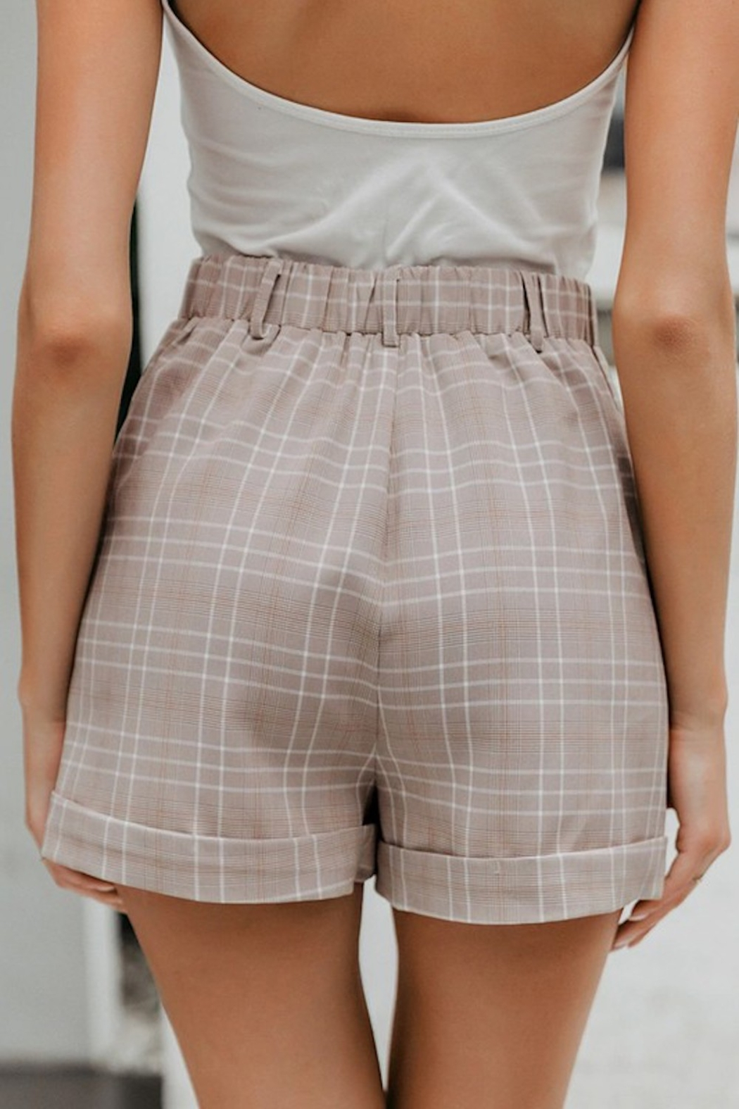 May Blue  Glen Plaid Buttoned Shorts - Front Full Image