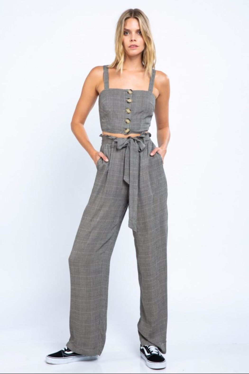 skylar madison Glen-Plaid Pant Set - Front Cropped Image