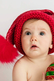 Huggalugs Glimmer Santa Stocking Hats 0-6 Months - Front cropped