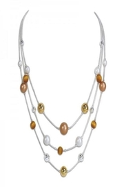 Periwinkle by Barlow Glistening multi-strand necklace accented with rose gold, silver , gold & wood beads - Product Mini Image