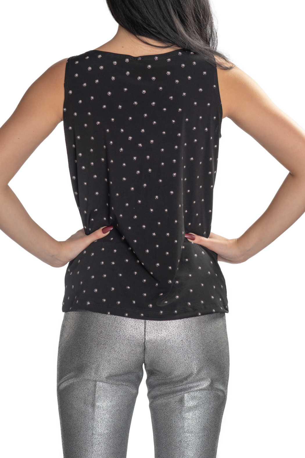 Clara Sunwoo Glitter Dotted Soft Knit Cowl Neck Tank - Side Cropped Image