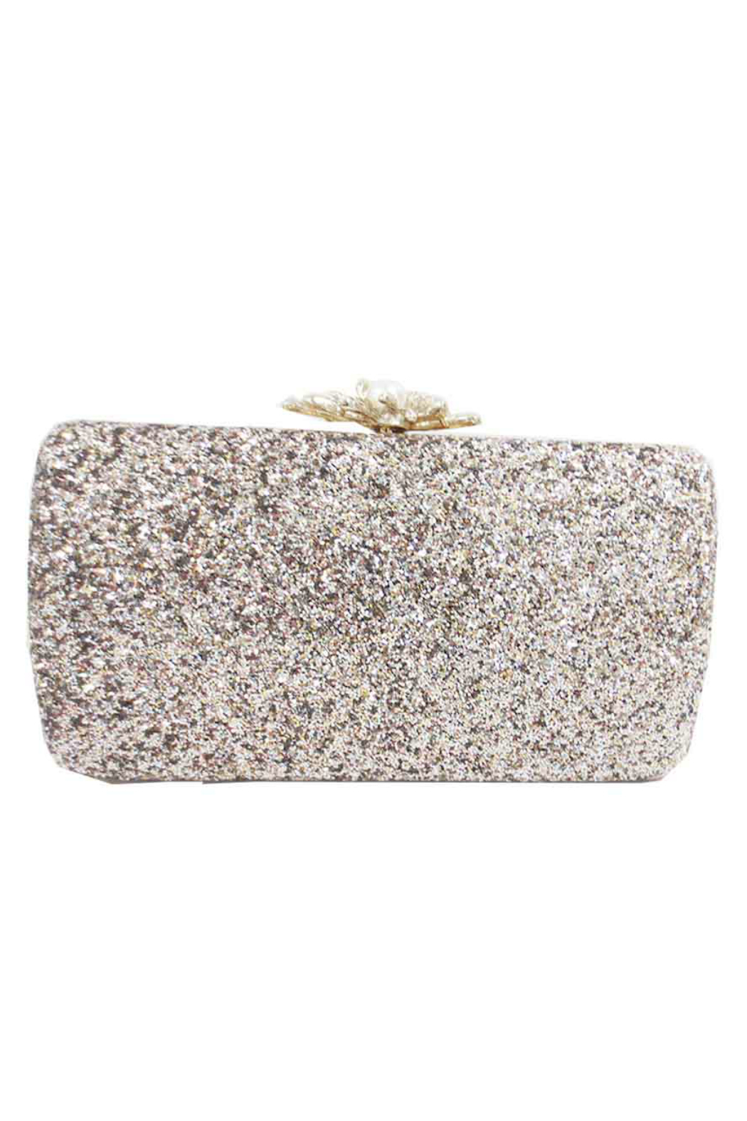 Sondra Roberts Glitter Fabric with Pearl Clasp Box Clutch - Main Image