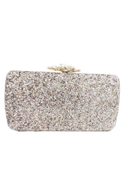Sondra Roberts Glitter Fabric with Pearl Clasp Box Clutch - Front cropped