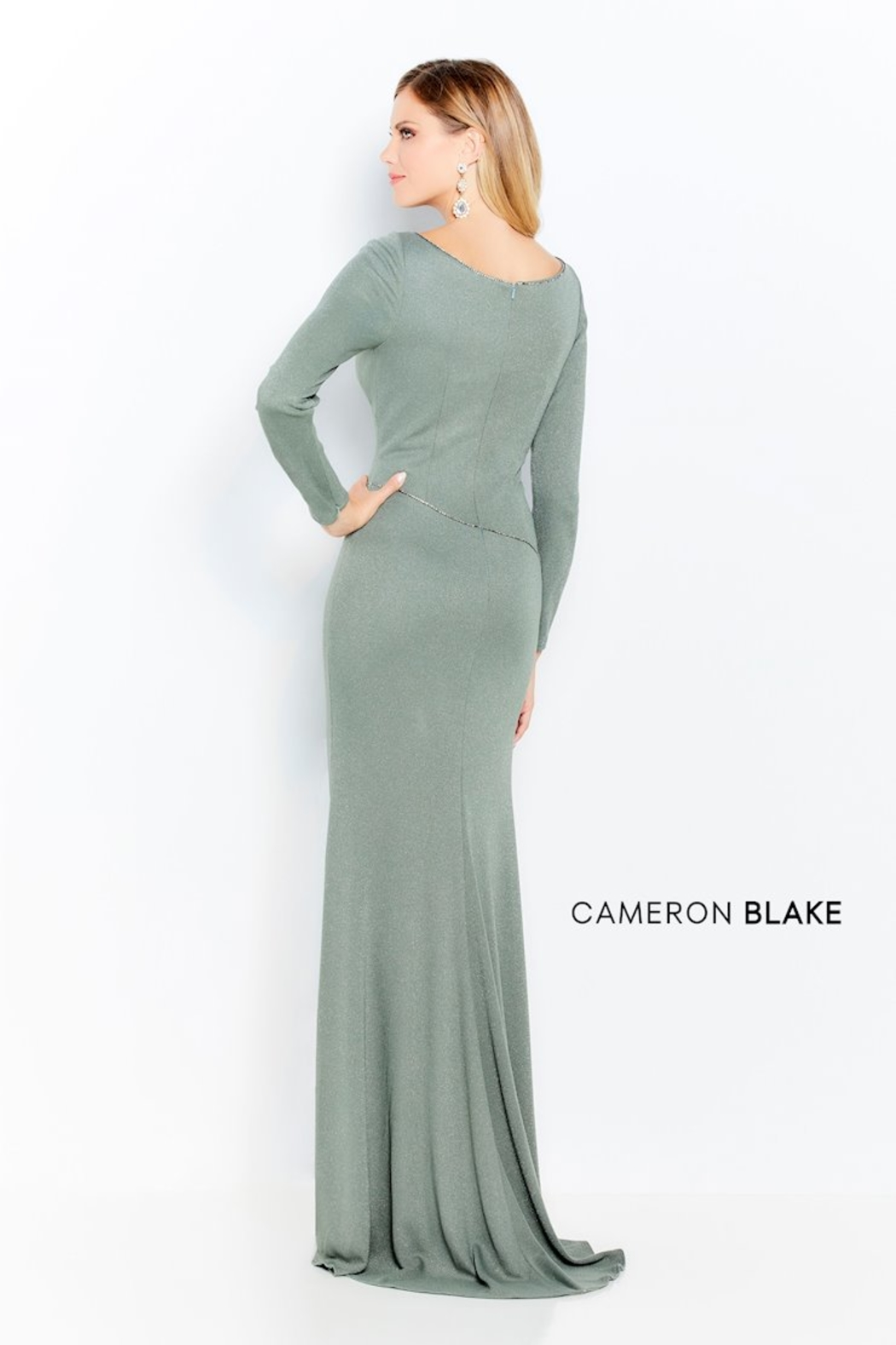 Cameron Blake Glitter Jersey Gown, Ink or Mocha - Front Full Image