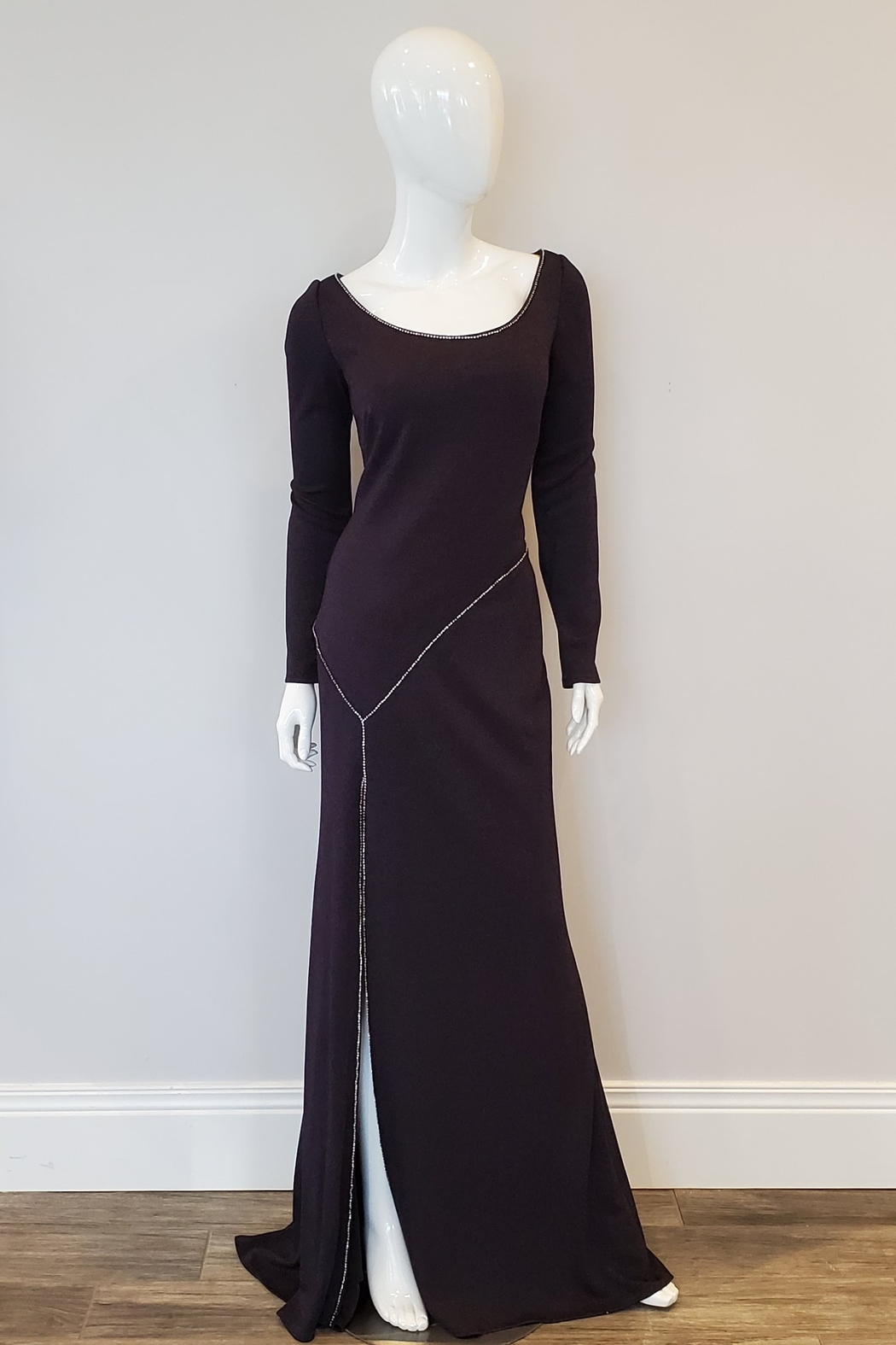 Cameron Blake Glitter Jersey Gown, Ink or Mocha - Front Cropped Image
