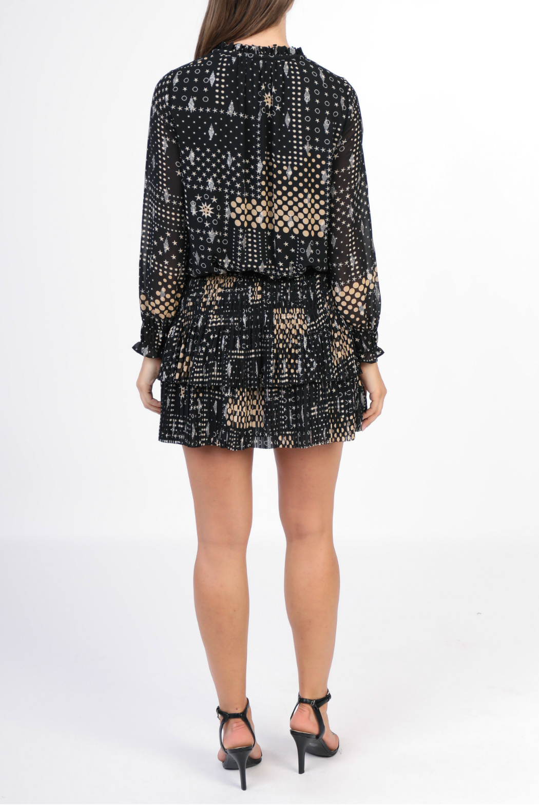 Current Air Glitter pleated mini dress - Front Full Image