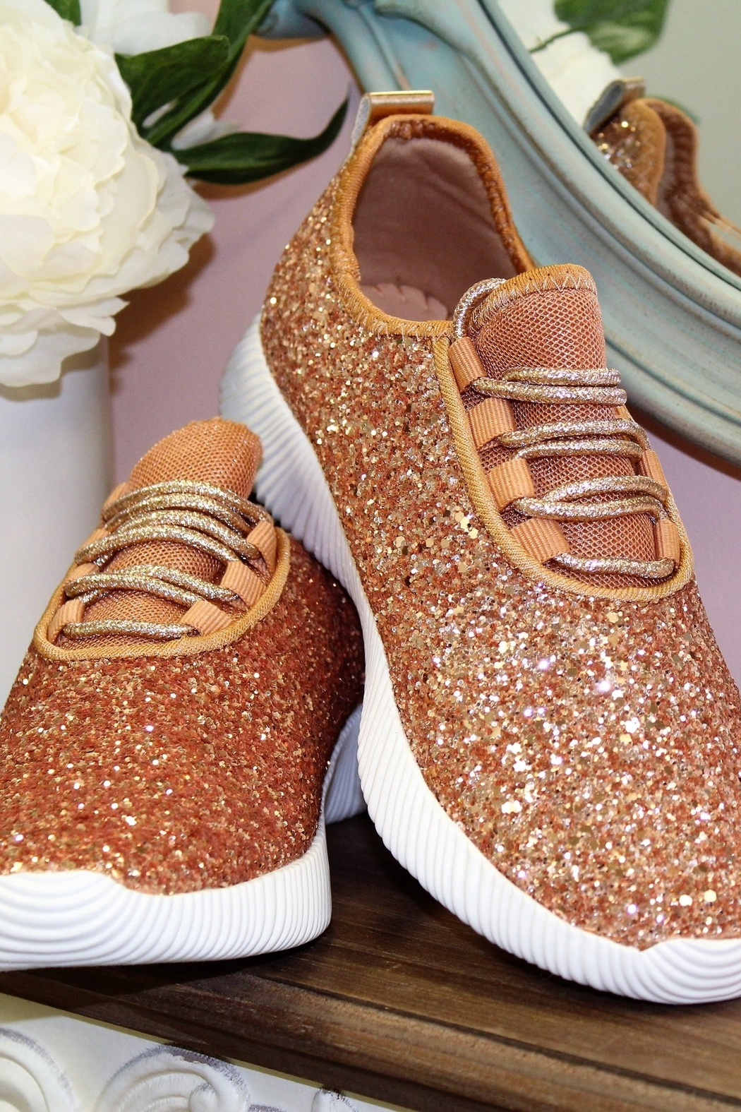 Qupid Glitter Sneakers - Front Cropped Image