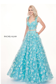 Rachel Allan Glitter Tulle 2-Piece A-Line Prom Dress, Mint Blue - Product Mini Image