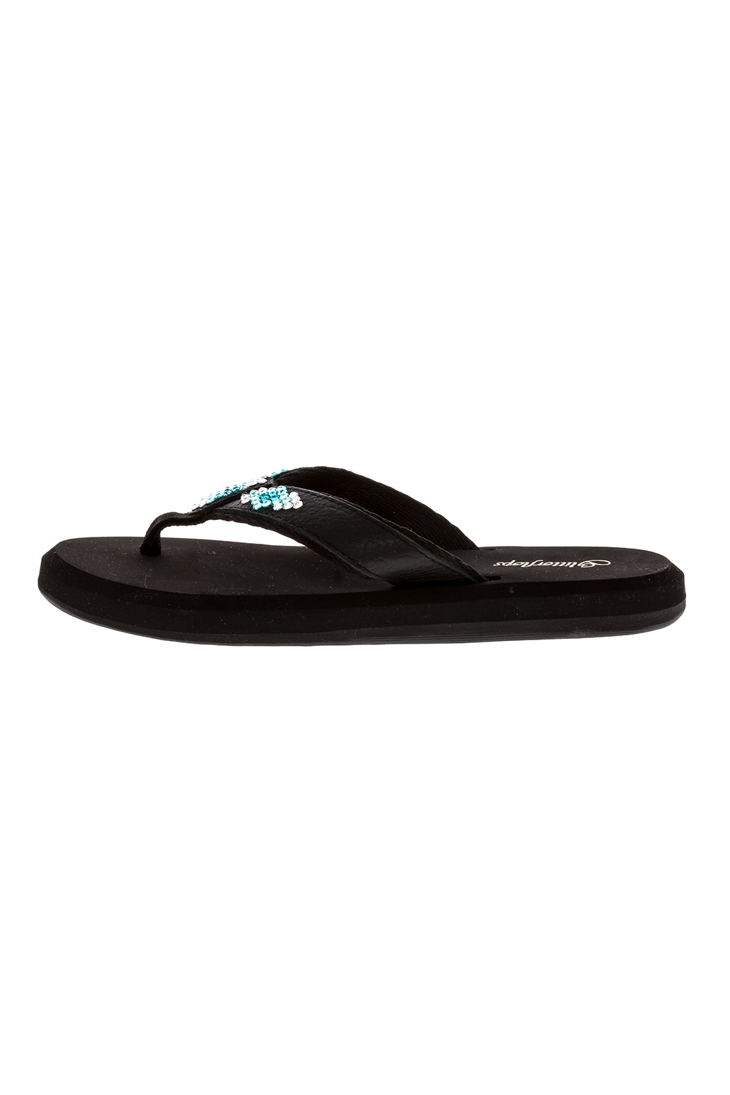 Glitterflops Athena Turquoise Flip Flops - Side Cropped Image
