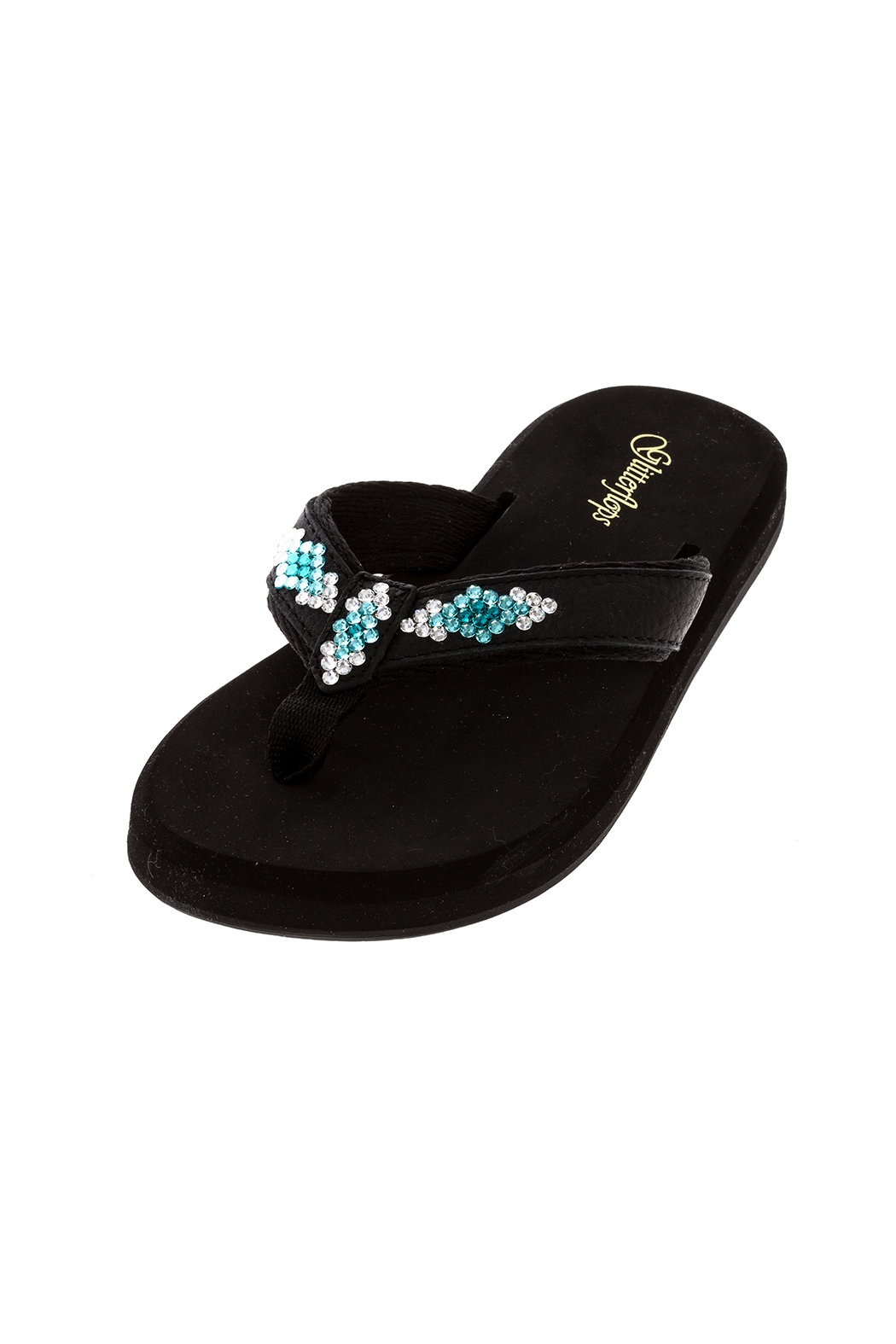 Glitterflops Athena Turquoise Flip Flops - Front Cropped Image