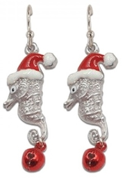 Periwinkle by Barlow Glittery Santa seahorses with bells - Product Mini Image