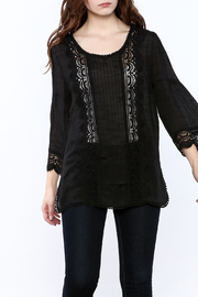 GLITZ & GLAM Black Lace Tunic Top - Product Mini Image
