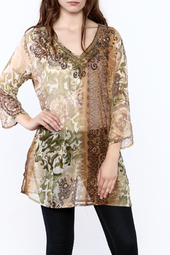 Shoptiques Product: Sheer Beaded Tunic Top