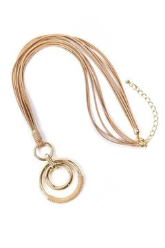 GLITZ & GLAM Double Ring Leather Necklace - Alternate List Image