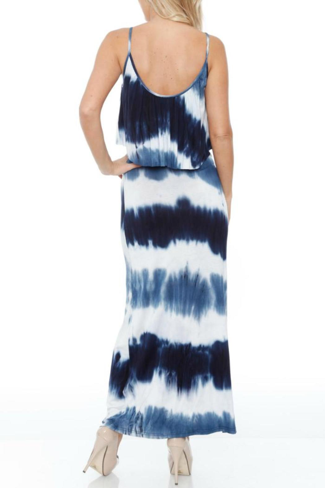 GLITZ & GLAM Navy Tie Dye Dress - Front Full Image