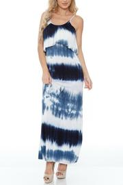 GLITZ & GLAM Navy Tie Dye Dress - Front cropped