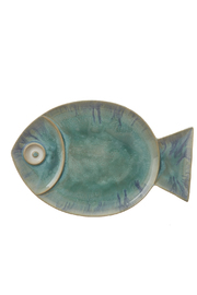 Global Views Large Blue Fish Plate - Front cropped