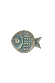 Global Views Small Blue Fish Plate - Front cropped