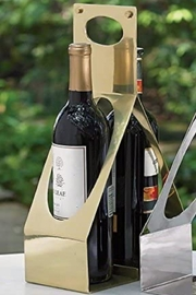 Global Views Double Wine Caddy Gold - Front cropped
