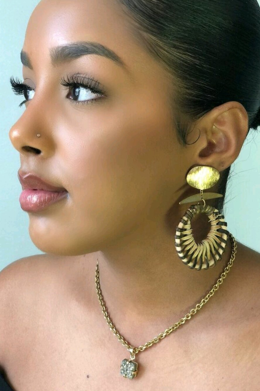 Fabulina Designs Gloria Rattan Earrings - Front Cropped Image