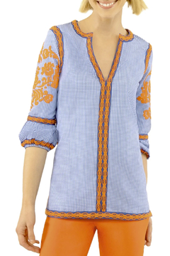 Shoptiques Product: Glorious Gingham Embroidered Top